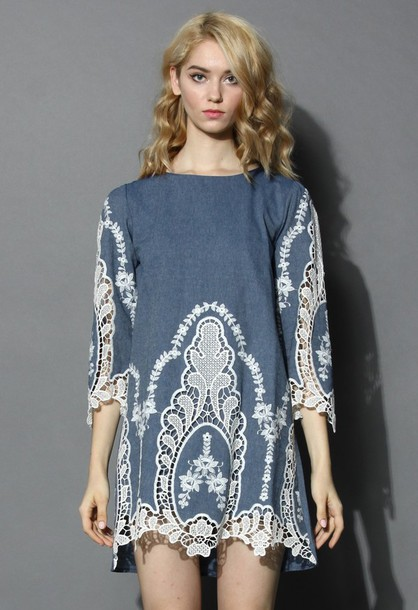 chicwish flawless baroque cut-out denim shift dress