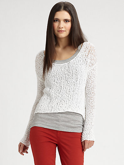 360 Sweater - Semi-Sheer Open-Weave Sweater - Saks.com