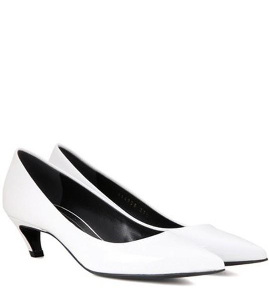 Balenciaga Patent Leather Kitten-heel Pumps in white