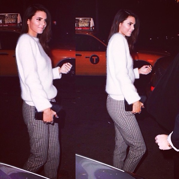 sweater kendall jenner fuzzy sweater white pants celebrity clothes fluffy jumper blouse kendall jenner white fluffy jumper checkered pants kylie jenner checked trousers styleinspo top bag shirt kardashians kardashians