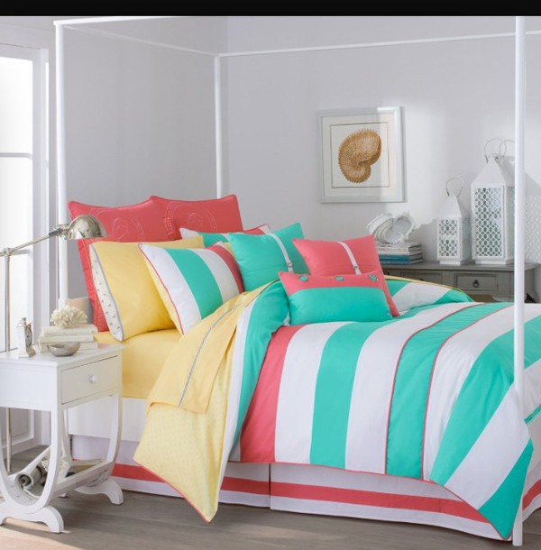 Home Accessory Bedding Colroful Girly Teen Girl Teen Bedrooms Teen Bedding  Blue Yellow Pink Colorful