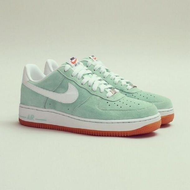 wholesale dealer 5142e 369bd shoes white green mint brown sneakers nike air nike nike air force nike  sneakers