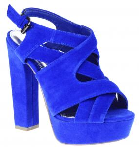 Royal blue block heels