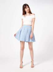 skirt,blue,light blue,blue skirt,jacquard,skater skirt,short skirt