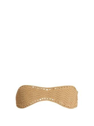 bikini bikini top bandeau bikini crochet beige swimwear