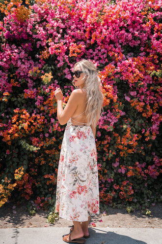 dress tumblr maxi dress floral maxi dress floral floral dress open back open back dresses backless backless dress shoes sandals flat sandals