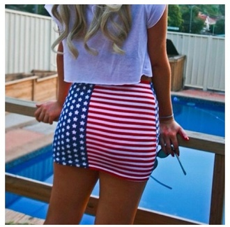 skirt striped skirt american flag red white and blue patriotic stars 4th of july