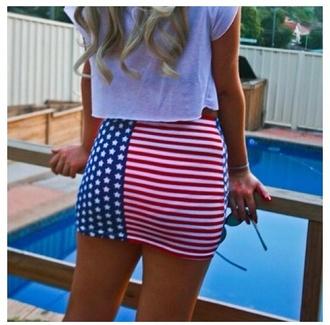 skirt american flag red white and blue patriotic striped skirt stars july 4th mini skirt