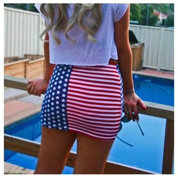 Red White And Blue Skirt - Dress Ala
