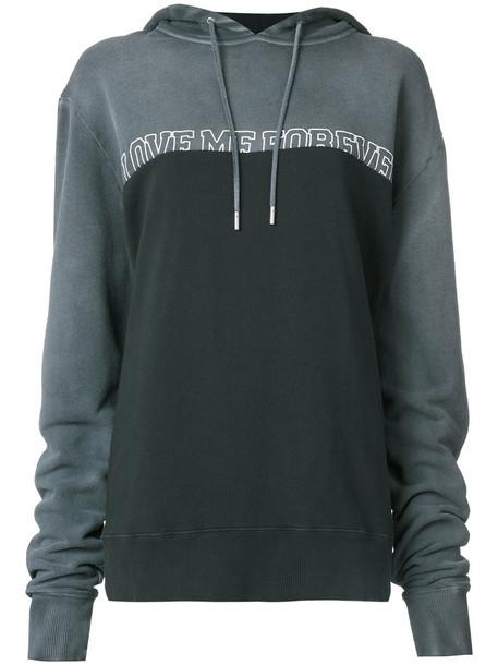 Saint Laurent - Love Me Forever slogan print hoodie - women - Cotton - XL, Grey, Cotton