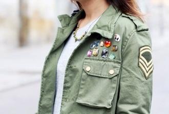 jacket green kaki green jacket army green jacket jewel rainbow