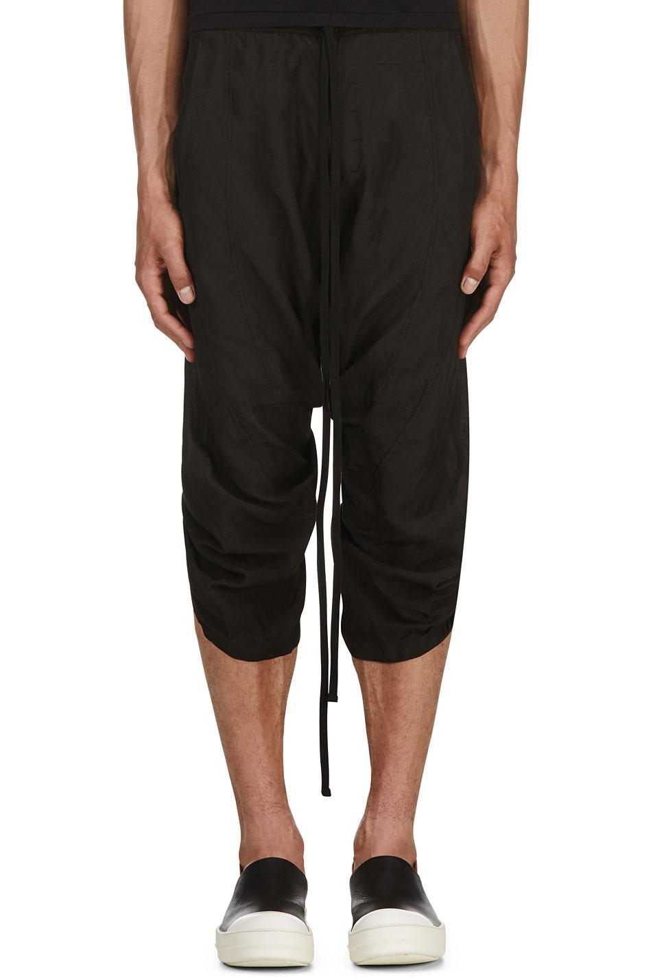 Ma julius black cropped harem trousers