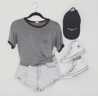 shorts grey white tumblr cute style converse t-shirt