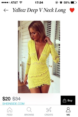 dress lace dress yellow dress long sleeve dress low cut dress deep v neck dress
