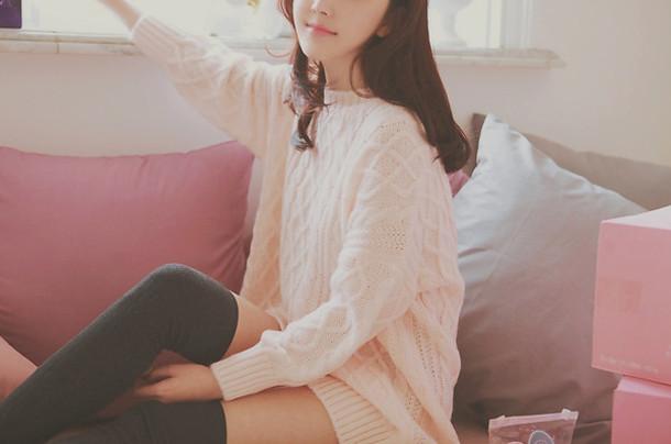sweater white cute girl fashion white sweater oversized sweater oversized white sweater kfashion korean fashion korean fashion