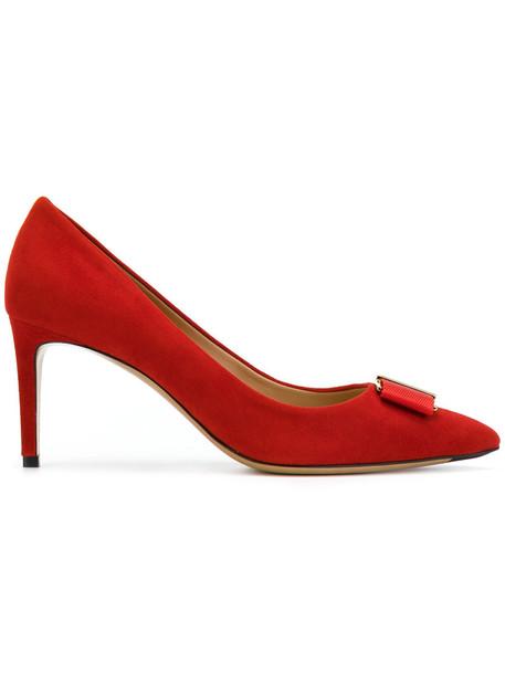 Salvatore Ferragamo women pumps leather red shoes