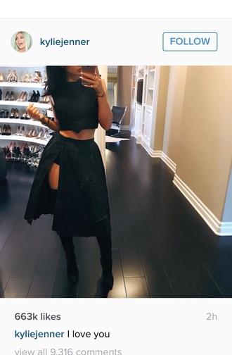 tumblr instagram slit skirt pleated skirt