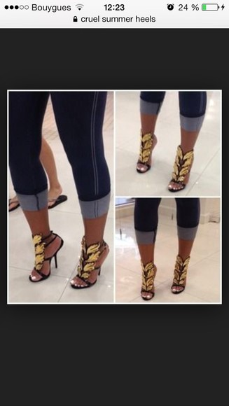 shoes kanye west heels sandals cruel summer black and gold shoes giuseppe zanotti palm leaf italy replica inspiration fake giuseppe zanotti sandal heels zanotti