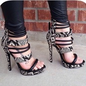 shoes,black and white designed  print heels.