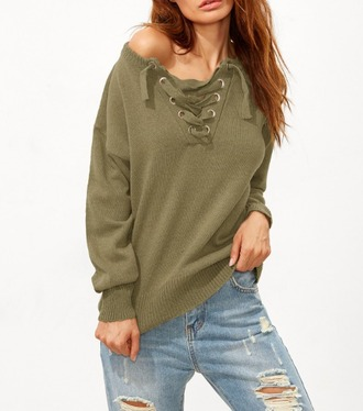 sweater girl girly girly wishlist lace up olive green knit fall sweater comfy