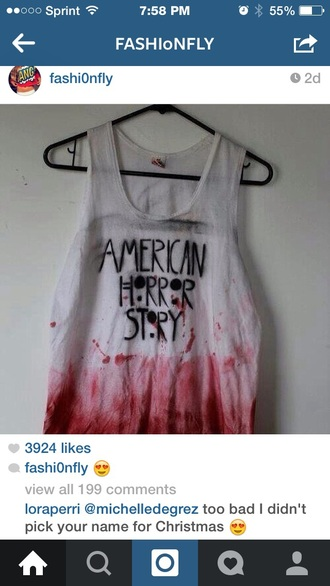 tank top american horror story white with red splatter