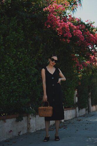 hallie daily blogger dress jacket shoes bag basket bag mules midi dress black dress summer dress