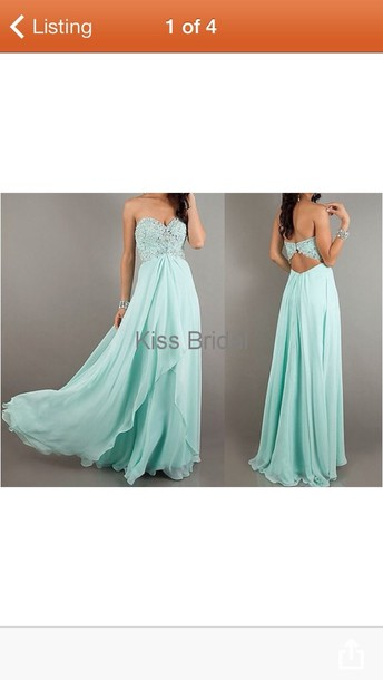 dress light blue prom long strapless open back
