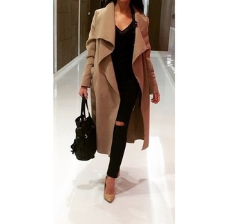 camel coat waterfall coat wool coat long coat black ripped jeans coat nude coat nude wrap coat wrap waterfall waterfall jacket waterfall wrap nude wrap coat nude waterfall coat caramel caramel coat caramel wrap coat caramel waterfall coat jacket shoes jeans prada tan long peacoat brown