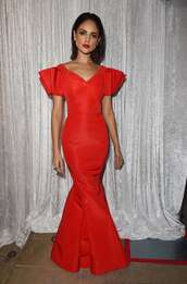 dress,eiza gonzalez inaugural los angeles gala dinner red cap sleeve mermaid dress