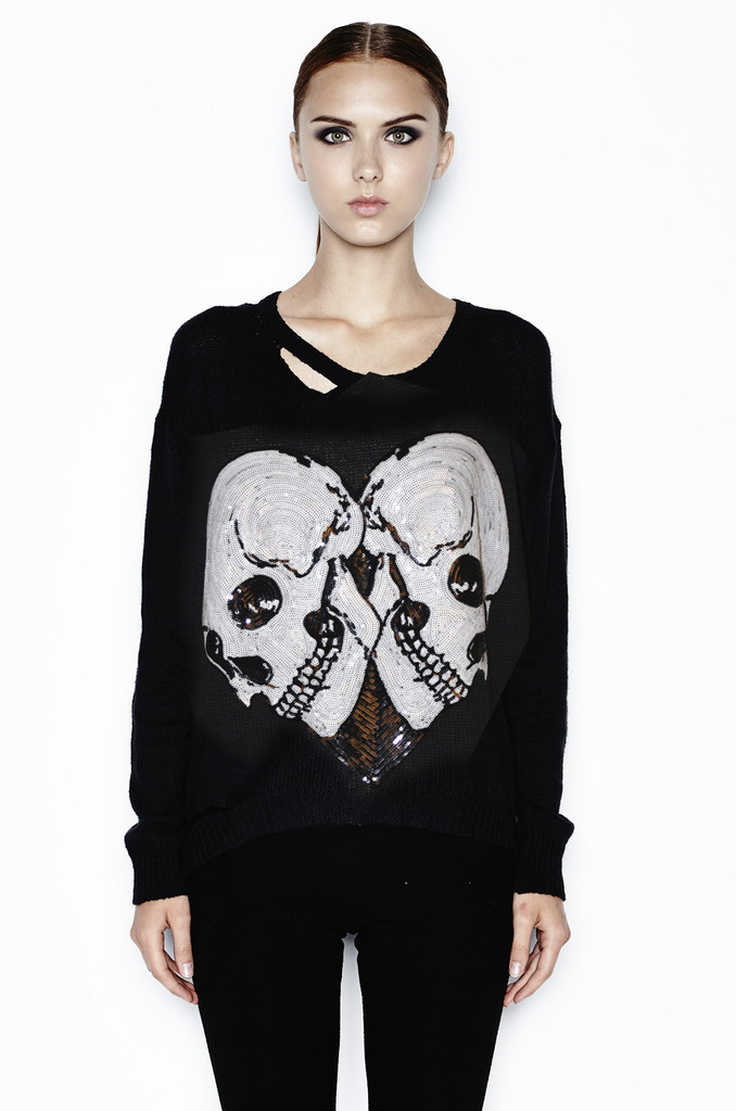 Jewel sequin skull heart l/s sweater w/ holes – lauren moshi