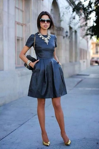 dress jewels wedding guest black dress leather dress necklace statement necklace bag black bag sunglasses pointed toe pumps pumps gold pumps viva luxury blogger