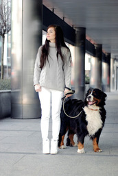 i am sony,blogger,pants,sweater,shoes,zara,nike,nike sky hi,sheinside,jumper,golf,white,white pants,white shoes,warm sweater,dog,chic,casual