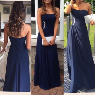 dress prom corset back navy dress strapless