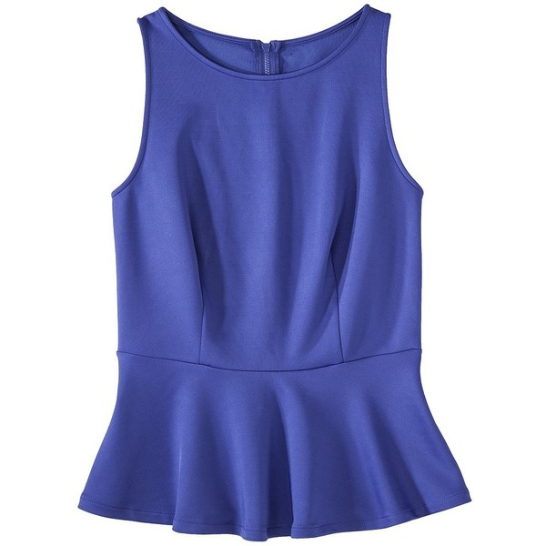 Mossimo Women's Sleeveless Scuba Peplum Top - Assorted Colors - Polyvore