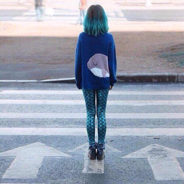 sweater blue cute blouse whale tail girly