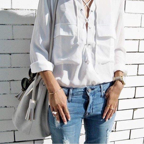 blouse tumblr tumblr outfit cute outfits aesthetic white shirt lace up top 749eb8220