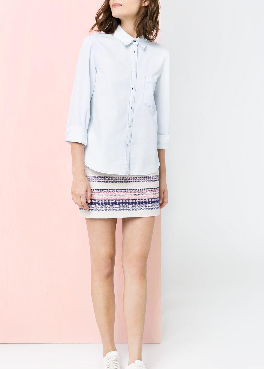 Jacquard miniskirt -    Women - MANGO