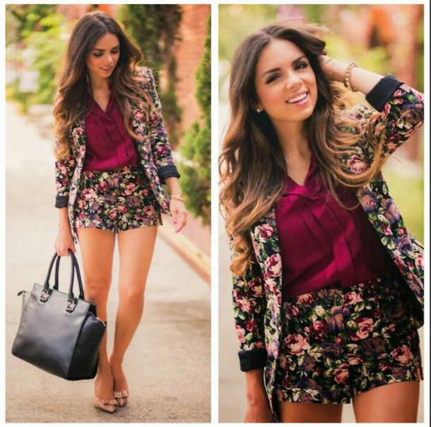 pants flowered shorts flower  blazer pink flowers