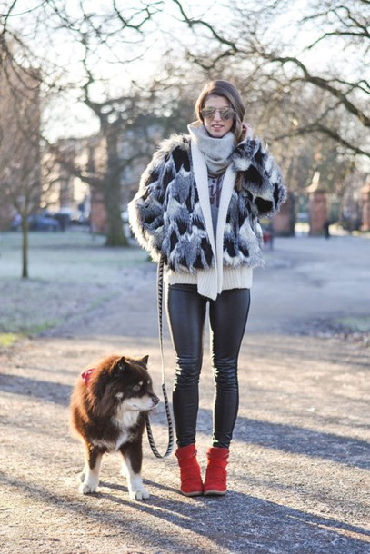 thank fifi blogger leggings scarf faux leather faux fur jacket winter outfits jacket sweater t-shirt shoes coat printed fur jacket