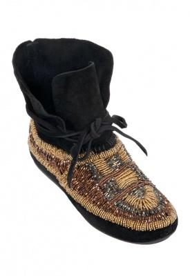 House of harlow 1960 shoes > house of harlow 1960 maddie beaded moccasin bootie in black  @ singer22.com