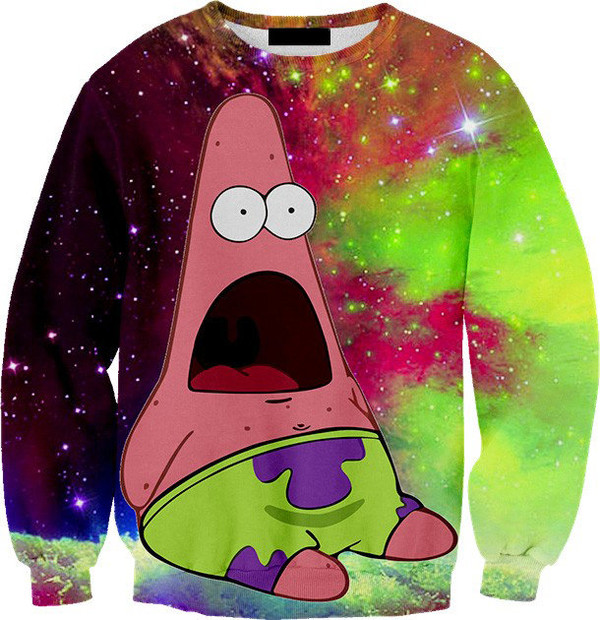 shirt patrick star sweater 3d sweatshirts space sweatshirt green purple spongebob woah patrick galaxy print leggings