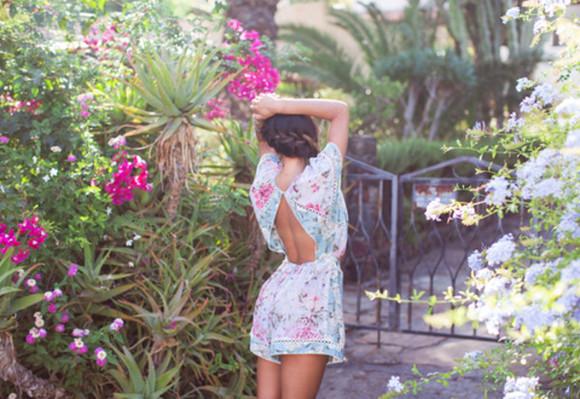 floral jumpsuit overalls cut-out tropical