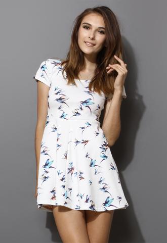 dress birds skater dress white short sleeve pleated women