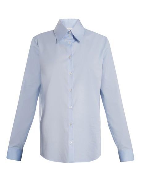 The Row shirt cotton light blue light blue top