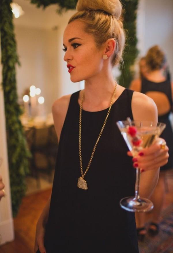 Casual casual dress homecoming black dress little red lipstick hair blogger lauren ...