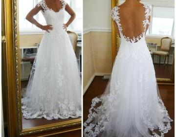 Long ball gown lace wedding dresses..
