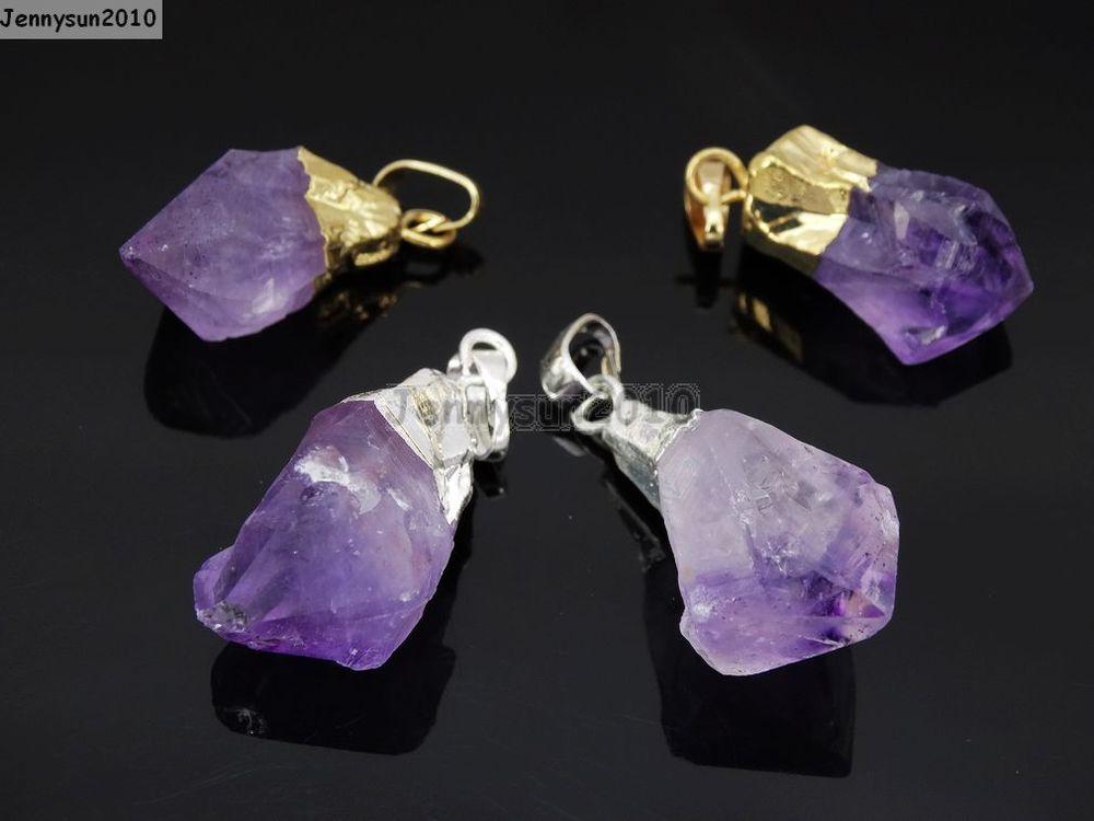 Natural amethyst gemstones healing reiki chakra beads point pendant charm beads