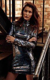 dress,sequins,sequin dress,turtleneck,mini dress,bella hadid,new year's eve