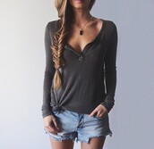 top,blouse,shirt,clothes,grey,long sleeves,t-shirt,dark,buttons,wide necked,cute,henley,summer,spring,shorts,fashion,sweater,yea,casual,cozy,fall outfits,winter outfits,959161,denim,denim shorts,blue jean shorts,grey top,zaful,long sleeve grey top,hollister,hollister outfit,black,black sweater,knitwear,knitted sweater,instagram,pinterest,trendy,girl,fall sweater,autumn/winter,girly,fine knit jumper,loose shirt grey,cable knit,cotton,button up