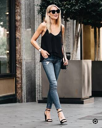 top tumblr black top camisole denim jeans blue jeans skinny jeans sandals sandal heels high heel sandals sunglasses shoes